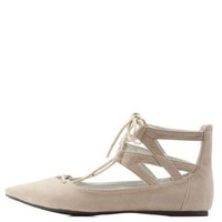 Taupe Lace-Up Ankle Cuff Pointy Toe Flats by Charlotte Russe