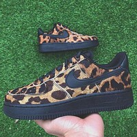 Nike Air Force 1 Nike Air Force Leopard  low-top  One wild leopard printsneakers leopard black soles