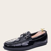 Men Croc Embossed Slip On Loafers