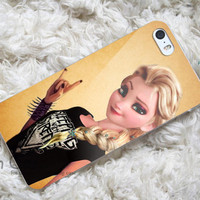 disney frozen elsa punk love sleeping with sirens design for iPhone 4/4s/5/5s/5c, Samsung Galaxy S3/S4 Case