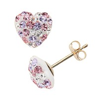 Gold 'N' Ice 10k Gold Crystal Heart Stud Earrings - Made with Swarovski Elements (Pink)