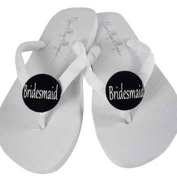 Bridesmaid Flip Flop for the Wedding- White Flats with Black