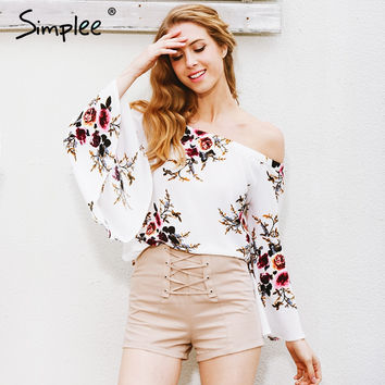 Off Shoulder Casual White Print Flare Shirt