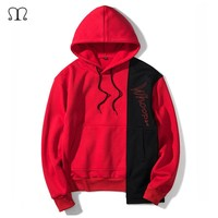 Europe Size Hoodies Men's Patchwork Thick Clothes Black Red Loong Sleeve Loose Hooded Sweatshirts Men Fleece Hip Hop Pullover