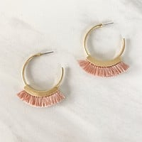 Break It Down Fringe Earring in Pink