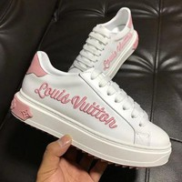Louis Vuitton LV Fashion Women Personality Logo Embroidery Sneakers Sport Shoes Pink I