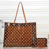 Louis Vuitton Women Leather Shoulder Bag Satchel Tote Handbag Crossbody Two Piece Set