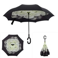 1PCS Gardenia Folding Double Layer Inverted Umbrella Self Stand Inside Out Rain Protection Long C-Hook Hands For Car