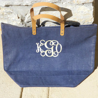 Monogrammed Jute Bag Font Shown INTERLOCKING by MONOGRAMSINC