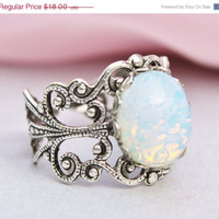 SALE Silver Opal Ring,Silver Filigree Ring,Vintage White Glass Pinfire Opal,Adjustable Ring,Bridesmaids Jewelry,Birthstone Jewelry