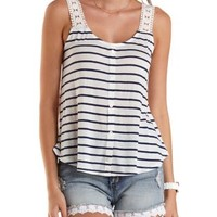 Crochet-Strap Striped Tank Top by Charlotte Russe - Navy Combo