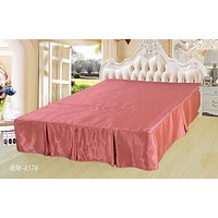 """DaDa Bedding Dusty Rose Shiny Pink Dust Ruffle Pleated Bed Skirt - Cal King - 14"""" Drop (BS-BM4576)"""
