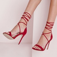 Missguided - Lace Up Barely There Heeled Sandals Red
