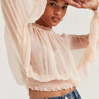 Kimchi Blue Sheer Smocked Mock-Neck Top   Urban Outfitters