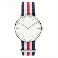 Unisex Nylon Belt White Round Dial Watch