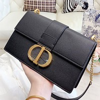 Hipgirls Dior CD  New fashion leather chain shoulder bag crossbody bag women Black