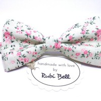 Bow Tie - floral bow tie - wedding bow tie - white bow tie with pink flower pattern - man bow tie - men bow tie - gifts for him