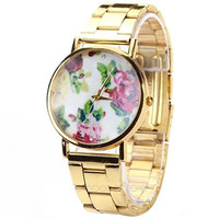 Rose Flower Stainless Steel Analog Quartz Wrist Watch (Color: Gold) = 1956897284