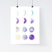 Watercolor moon phase print, home wall decor, apartment wall art, modern design, illustration, poster, nursery decor, gift, baby's room