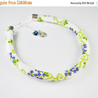 Cyber Monday SALE  Fruit necklace, bead crochet rope, jewelry necklace, blue, green necklace, small flower necklace, grapes necklace