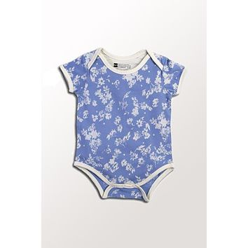 Organic Baby Onesuit - Chambray Floral 3 to 18 mo.