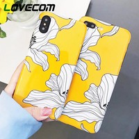 LOVECOM Case For iPhone XS XR XS Max X 8 7 6 6S Plus Yellow Flowers Glossy Soft IMD Fashion Phone Back Cover Cases Coque Gift