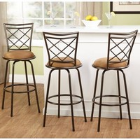 Avery Adjustable Metal Barstools, Silver, Set of 3 - Walmart.com