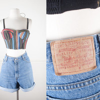 Vintage Levi's Denim Shorts / 80s Blue Jean Shorts / High Waisted Shorts / 90s Grunge Shorts / Festival Shorts / Levi Strauss Red Tab Shorts