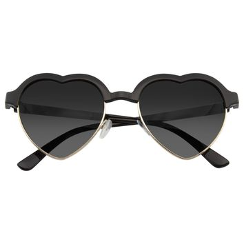 Cute Vintage Half Frame Inspired Heart Shape Sunglasses
