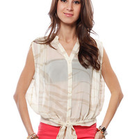 Papaya Clothing Online :: FRONT KNOT BUTTON DOWN BLOUSE