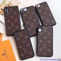 LV Louis Vuitton New fashion monogram leather phone case protective case Coffee