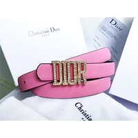 Dior Tide brand men and women casual wild diamond-studded letter buckle belt pink