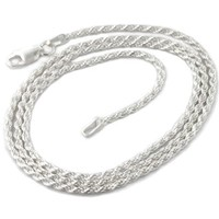 """2mm Sterling Silver 18"""" Diamond-Cut Rope Chain Necklace(Lengths 14"""",16"""",18"""",20"""",22"""",24"""",30"""",36"""")"""