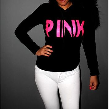 """Victoria's Secret ""LOVE PINK Women's Fashion Letter Print Hooded Long-sleeves Pullover Tops Sweater"