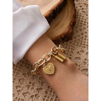 1pc Lock & Heart Charm Chunky Chain Bracelet