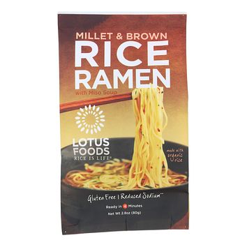 Lotus Foods Ramen - Organic - Millet and Brown Rice - with Miso Soup - 2.8 oz - Pack of 10
