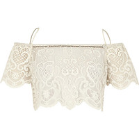 River Island Womens White Pacha lace bardot top