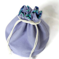 Bucket Bag Violet Denim & Blue Purple Green Circles Upcycled Blue Jeans Makeup Travel Tote - US Shipping Included