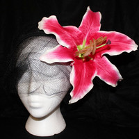Gorgeous Pink & White Lily Flower Hair Clip - Pinup Rockabilly Hair Accessory