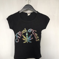 "stoner shirts ""A Touch of Grass"" vintage t shirt rainbow scoop neck tees 70s clothing girl stoner drugs weed marijuana cap sleeve t-shirt xs"