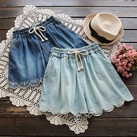 Sweet Mori Girl Denim Shorts Female Flower Embroidered Elastic Waist Slim Denim Skorts
