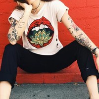 Life Clothing Co Women's Lotus Kiss Crop Tee With Distress Holes