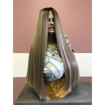 """Ash Blonde Balayage Ombre' Lace front Wig 24"""""""