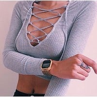 Hollow long-sleeved knit short Shirt Blouse Tops