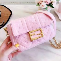Fendi 2019 new double F letter embossed women's wild chain bag shoulder bag