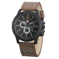 Wrist Watch For Vintage Men's Waterproof Shock Resistant Date Leather Strap Quartz Army Mechanical Watches