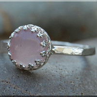 Rose Quartz Ring, Crown Bezel Set Quartz Ring, Sterling Silver gemstone Ring, Pink Cocktail Ring, Stacking Ring, Rose Quartz Engagement Ring
