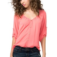 Pyramid Button Front Blouse