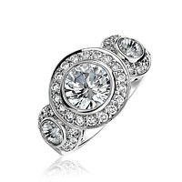 Art Deco 925 Sterling Silver AAA CZ Halo Circlet Engagement Ring