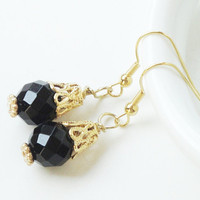 Black Onyx With Gold Cap Dangle Earrings